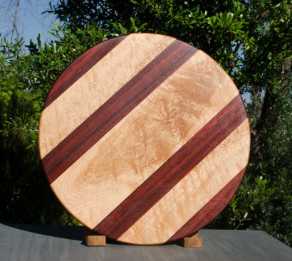 "Lazy Susan 17 - 12. Padauk & Birdseye Maple. 18"" diameter."