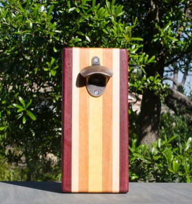 Magic Bottle Opener 17 - 636. Purpleheart, Hard Maple, Canarywood & Yellowheart. Double Magic.