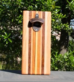 Magic Bottle Opener 17 - 641. Honey Locust, Hard Maple, Caribbean Rosewood, Cherry, Canarywood & Yellowheart. Double Magic.
