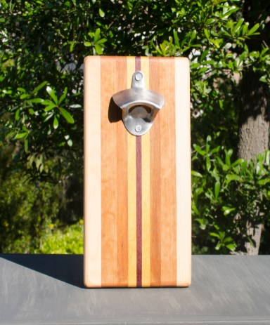 Magic Bottle Opener 17 - 903. Hard Maple, Cherry, Canarywood, Yellowheart & Purpleheart. Single Magic.