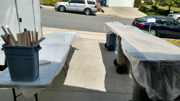 """Good thing we have portable tables. And trash cans. I needed every square foot of """"table"""" space I could find."""
