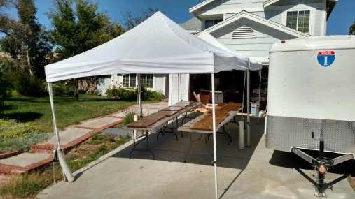 Canopies keeping the drying boards in the shade as the temp soared.