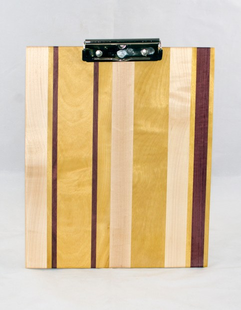 Clipboard 17 - 002. Hard Maple, Yellowheart & Purpleheart. Chaos design. Letter size. Polyurethane finish.