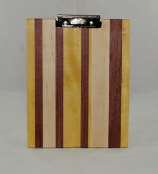 Clipboard 17 - 003. Hard Maple, Yellowheart & Purpleheart. Chaos design. Letter size. Polyurethane finish.
