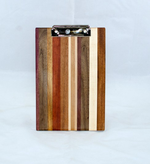 Clipboard 17 - 010. Purpleheart, Black Walnut, Cherry, Padauk, Jatoba & Hard Maple. Chaos board. Notepad size. Polyurethane finish.