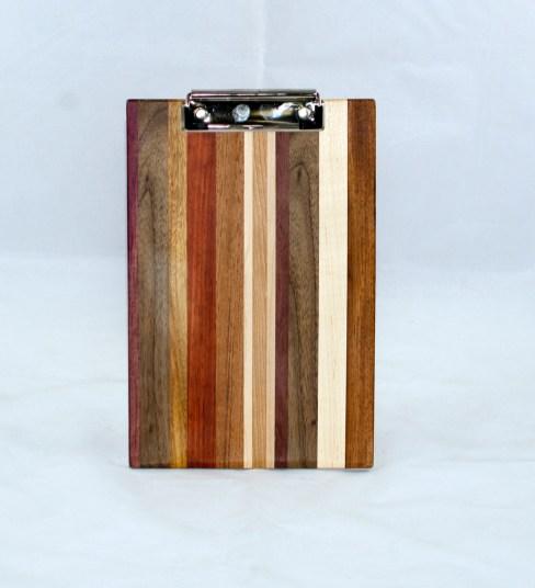 Clipboard 17 - 010. Purpleheart, Black Walnut, Cherry, Padauk, Jatoba & Hard Maple. Chaos board. Notepad size. Polyurethane finish.
