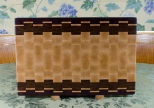 """Cutting Board 17 - 429. Jatoba, Purpleheart & Hard Maple. End Grain. 15"""" x 21-1/2"""" x 1-1/2""""."""