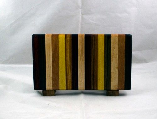 "Small Board 17 - 222. Black Walnut, Cherry, Hard Maple, Jatoba, Yellowheart, Canarywood, Bloodwood & Padauk. Chaos Board. 7"" x 12"" x 1-1/8""."