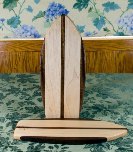 "Small Surfboard 17 - 502. Jatoba & Hard Maple. 7"" x 16"" x 3/4""."