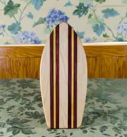 "Small Surfboard 17 - 507. Hard Maple, Padauk & Yellowheart. 7"" x 16"" x 3/4""."