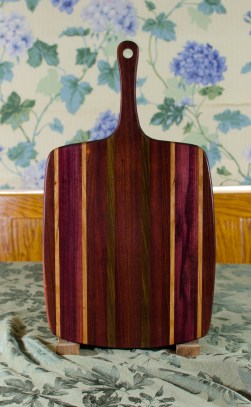 """Sous Chef 17 - 915. Purpleheart, Cherry, Bubinga, Black Walnut & Bloodwood. Large size, with the work space approximately 11"""" x 15"""", with the handle extending for an additional 6""""."""