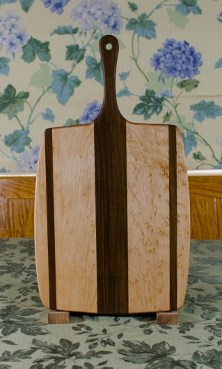 """Sous Chef 17 - 916. Birdseye Maple & Jatoba. Large size, with the work space approximately 10"""" x 15"""", with the handle extending for an additional 6""""."""