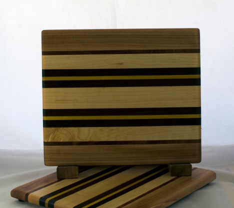 "Cheese Board 17 - 341. Hard Maple, Jatoba, Yellowheart & Purpleheart. 8"" x 11"" x 5/8""."