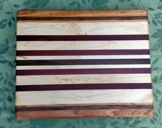 "Cutting Board 17 - 124. Edge grain. Cherry, Black Walnut, Hard Maple, Jatoba, Purpleheart & Pau Ferro. 14"" x 18"" x 1-1/4""."