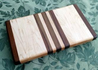"Small Board 17 - 232. Jatoba & Hard Maple. 7"" x 12"" x 1-1/4""."
