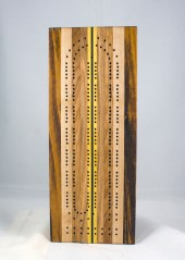 "Cribbage 17 - 01. Goncalo Alves, Hard Maple, Cherry, Red Oak, Yellowheart and Black Walnut. 6"" x 16""."