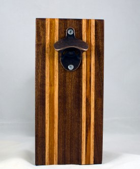 Magic Bottle Opener 17 - 646. Sapele, Honey Locust & Canarywood. Double Magic - means it can fridge mount or wall mount.