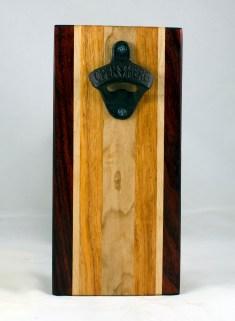 Magic Bottle Opener 17 - 654. Padauk, Hard Maple, Honey Locust. Double Magic - means it can fridge mount or wall mount.