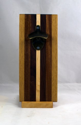 Magic Bottle Opener 17 - 660. Red Oak, Jatoba, Pau Ferro & Hard Maple. Double Magic.