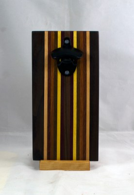 Magic Bottle Opener 17 - 662. Black Walnut, Hard Maple, Padauk, Jatoba, Yellowheart, Purpleheart & Bloodwood. Double Magic.
