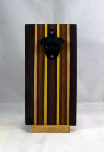 Magic Bottle Opener 17 - 662. Black Walnut, Hard Maple, Padauk, Jatoba, Yellowheart, Purpleheart & Bloodwood. Double Magic.