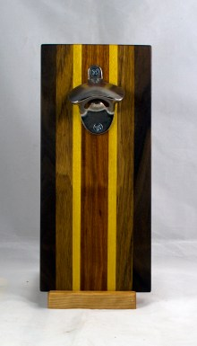 Magic Bottle Opener 17 - 671. Black Walnut, Teak, Yellowheart & Canarywood. Double Magic.