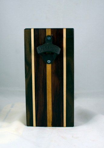 Magic Bottle Opener 17 - 918. Black Walnut, Hard Maple, Bubinga & Cherry. Single Magic = Wall mount only!