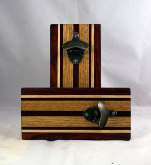 Magic Bottle Opener 17 - 922. Padauk, Hard Maple, Red Oak & Black Walnut. Single Magic.