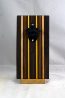 Magic Bottle Opener 17 - 923. Black Walnut, Hard Maple, Padauk, Jatoba, Yellowheart, Purpleheart & Bloodwood. Single Magic.