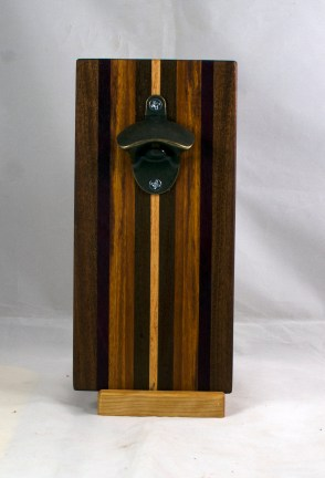 Magic Bottle Opener 17 - 932. Black Walnut, Purpleheart, Honey Locust & Canarywood. Single Magic.