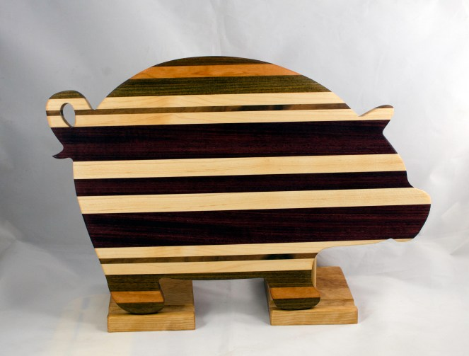 "Pig 17 - 705. Black Walnut, Cherry, Hard Maple, Purpleheart. 12"" x 19"" x 1-1/8""."