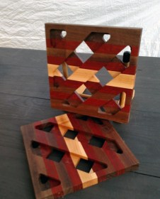 "Trivet 17 - 05. Black Walnut, Padauk & Hard Maple. 8-1/2"" x 8-1/2"" x 3/4""."
