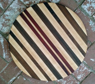 "Lazy Susan 17 - 21. Hard Maple, Black Walnut & Bloodwood. 18"" diameter."
