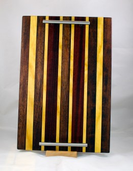 "Serving Tray 17 - 10. Merbau, Yellowheart & Padauk. 12"" x 18"" x 3/4""."