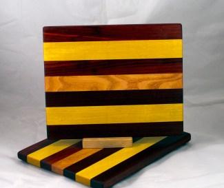 "Cheese Board 17 - 348. Padauk, Yellowheart & Honey Locust. 9"" x 11"" x 3/4""."