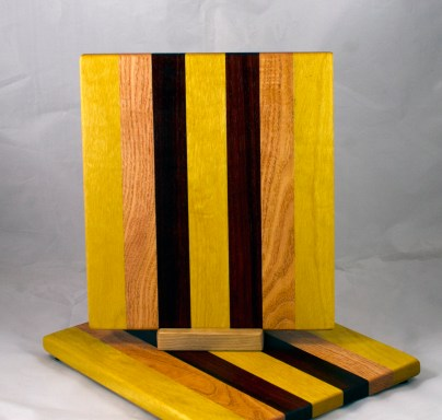 "Cheese Board 17 - 349. Yellowheart, Honey Locust & Padauk. 9"" x 11"" x 3/4""."