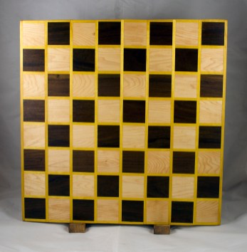 Chess Board 17 - 314. Pau Ferro, Yellowheart and Hard Maple.