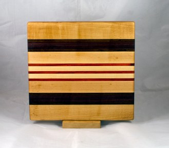 "Small Board 17 - 241. Hard Maple, Jatoba, Purpleheart & Padauk. 10"" x 11"" x 1""."