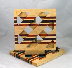 Trivet 17 - 10. Hard Maple, Padauk & Jatoba.