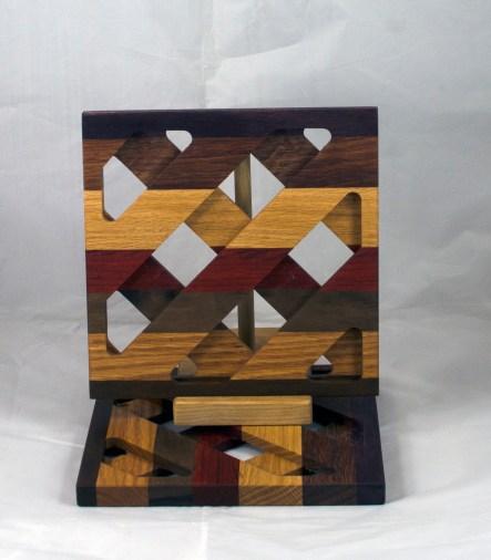 Trivet 17 - 15. Black Walnut, Jatoba, Hard Maple, Oak & Padauk.