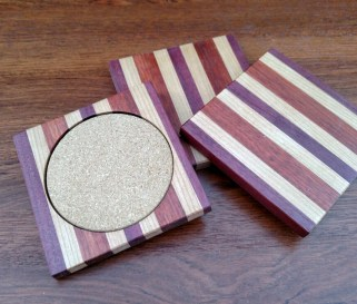 Coasters 18 - 01. Purpleheart, Cherry, Bloodwood & Cork.