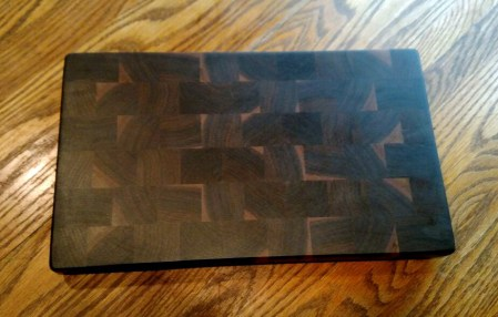 "Cutting Board 18 - 702. Black Walnut. End Grain. 9"" x 16"" x 1""."