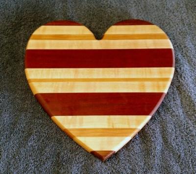 """Heart 18 - 901. Jatoba, Hard Maple, Cherry & Bloodwood. 11"""" x 11"""" x 3/4""""."""
