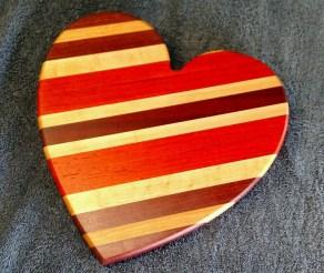 "Heart 18 - 903. Purpleheart, Cherry, Bloodwood & Padauk. 11"" x 11"" x 3/4""."