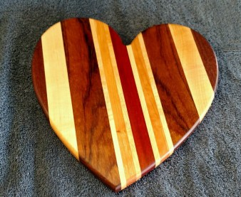 "Heart 18 - 901. Jatoba, Hard Maple, Cherry & Bloodwood. 11"" x 11"" x 3/4""."
