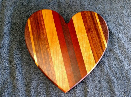 "Heart 18 - 909. Black Walnut, Hard Maple, Jatoba, Cherry, Bloodwood & Purpleheart. Sold in its first showing. 11"" x 11"" x 3/4""."
