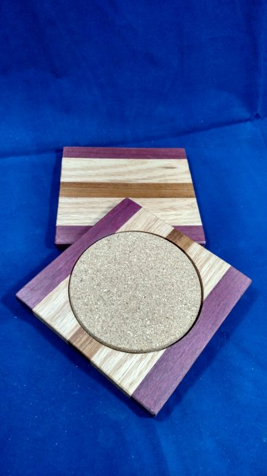 Coasters 18 - 10. Purpleheart, Oak & Jatoba.