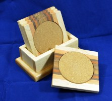 Coasters 18 - 27. Hard Maple, Honey Locust, Black Walnut, Bloodwood & Canarywood.