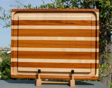 "Cutting Board 18 - 306. Jatoba & Hard Maple. Edge Grain, Juice Groove. 17"" x 21"" x 1-3/4"". This is a heavy board with a giant juice groove."