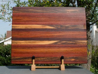 "Cutting Board 18 - 308. Jarrah, Jatoba & Bookmatched Goncalo Alves. Edge Grain. 15"" x 21"" x 1-1/4""."